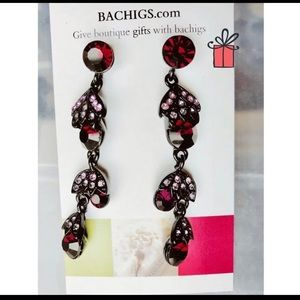 Long red earrings with crystals NEW